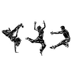 Three modern dancers silhouettes vector