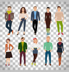 Young fashion people on transparent background vector