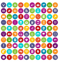 100 information technology icons set color vector