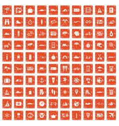 100 travel icons set grunge orange vector