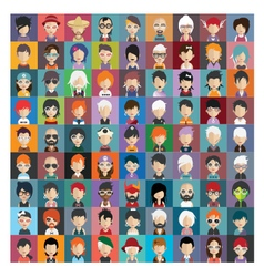 Set of people icons in flat style with faces 22 b vector