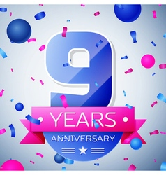 Nine years anniversary celebration on grey vector
