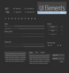 dark ui elements part 1 sliders vector image
