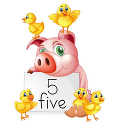 Pig and five little chicks vector
