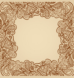 Floral frame - henna on parchment vector