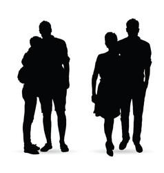 Couple silhouette set in black color vector