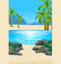 Scene with beach and ocean vector