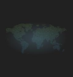 Binary code world map background zero and one vector