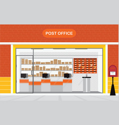 Modern exterior and interior of post office vector