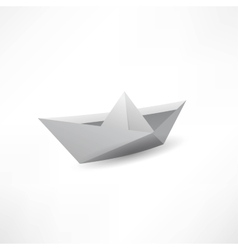 Origami paper ship isolated on white background vector