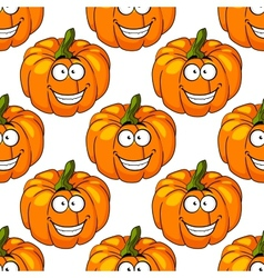 Happy smiling fresh pumpkin seamless pattern vector