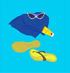 Towel sunglasses flip-flops sunblock vector