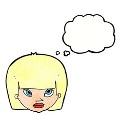 Cartoon annoyed woman with thought bubble vector