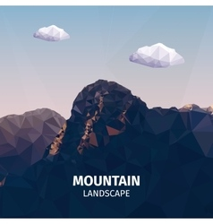 Realistic of low poly mountains landscape vector