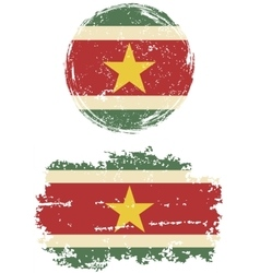 Surinamese round and square grunge flags vector