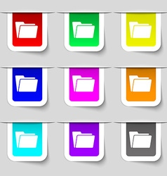 Folder icon sign set of multicolored modern labels vector