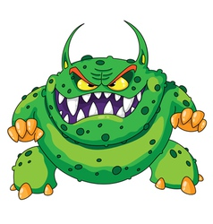 Angry green monster vector