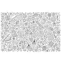 Line art set of picnic objects vector