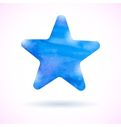 Blue watercolor star vector
