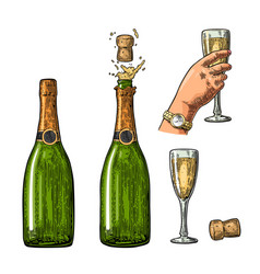 bottle of champagne explosion and hand hold glass vector image vector image