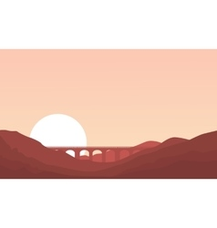 Bridge and mountain landscape of silhouettes vector