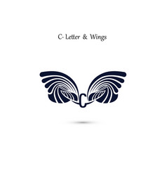 C letter sign and angel wings monogram wing logo vector
