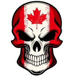 canada flag painted on skull vector image