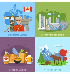 Canada travel 4 flat icons square vector