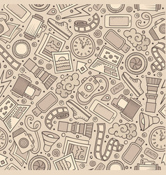 cartoon cute hand drawn cinema seamless pattern vector image vector image