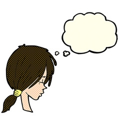 cartoon girl looking thoughtful with thought vector image vector image