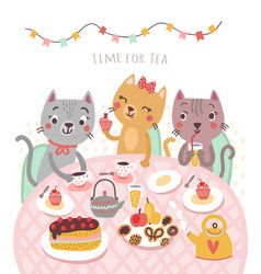 cats and tea vector image vector image