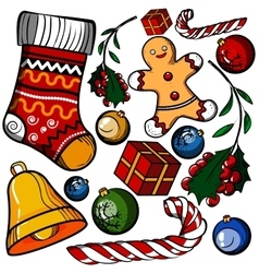 Christmas colored toy set vector