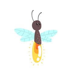 Cute cartoon firefly character vector