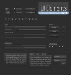 Dark ui elements part 1 sliders vector