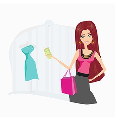 fashion shopping girl with shopping bags vector image vector image