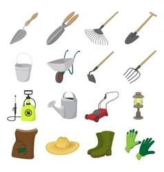 Garden cartoon icons set vector image