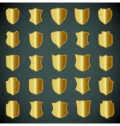 Golden shield design set with various shapes vector image
