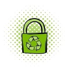 Green eco bag comics icon vector