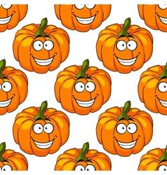 Happy smiling fresh pumpkin seamless pattern vector
