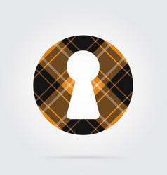 Orange black tartan isolated icon - keyhole vector