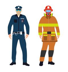 policeman and fireman cartoon icon service 911 vector image vector image