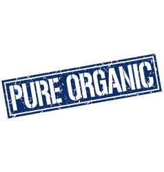 Pure organic square grunge stamp vector