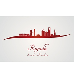 Riyadh skyline in red vector