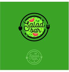 Salad bar logo vegetarian vector