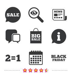 sale speech bubble icons black friday symbol vector image vector image
