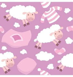 Seamless pattern with funny flying sheeps vector