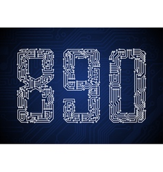 Set of Circuit board style letters vector image vector image