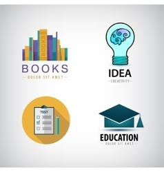 Set of education logos books test square vector