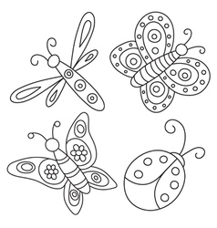 Set of outlined butterflies beetle and dragonfly vector image
