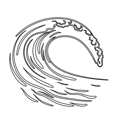Wave icon in outline style isolated on white vector